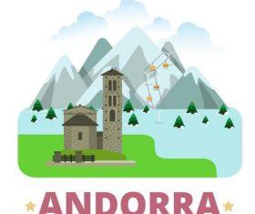 Andorra travel elements design vector