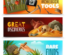 Archeology banners vector