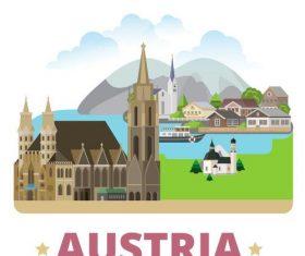 Austria travel elements design vector