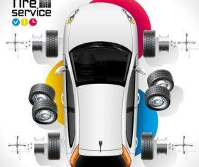 Auto tire service template vector