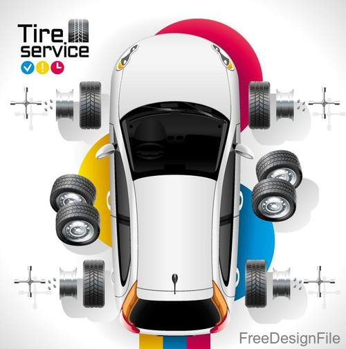 Auto tire service template vector