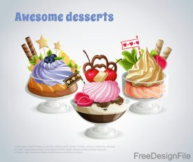 Awesome desserts cupcake design vector