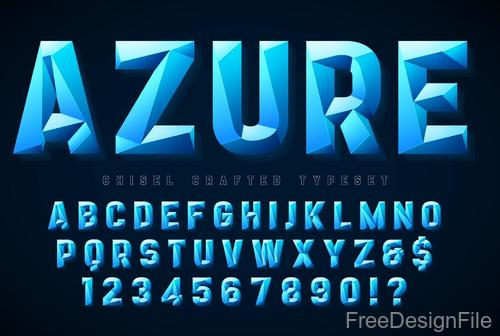 Azure polygon alphabet with numbers vector