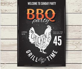 BBQ party flyer with chicken vector