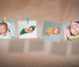 Baby photo on the rope Stock Photo