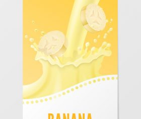 Banana milk vertical banner vector