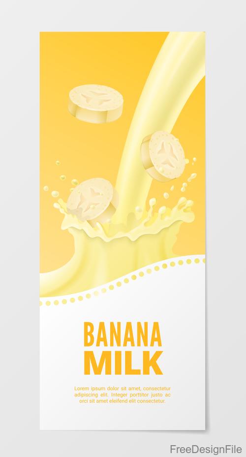 Banana milk vertical banner vector