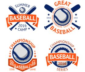 Baseball logos design vector set 01