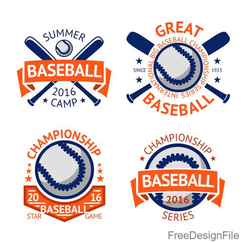 Baseball logos design vector set 01