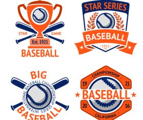 Baseball logos design vector set 02
