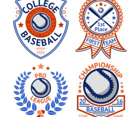 Baseball logos design vector set 03