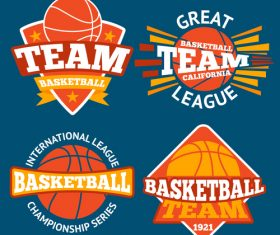 Basketball logos design vector set 01