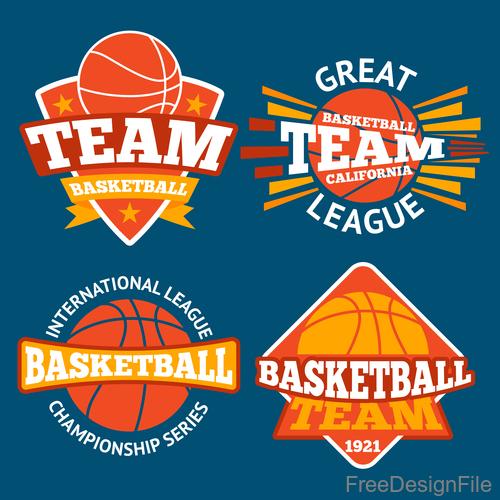 Basketball logos design vector set 01
