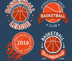 Basketball logos design vector set 02