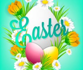Beautiful flower with easter background vector