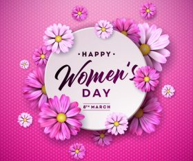 Beautiful flower with women day background vector