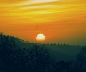 Beautiful scenery at sunrise Stock Photo