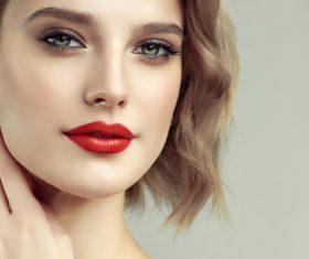 Beautiful woman face makeup artist applies eyeshadow Stock Photo 05