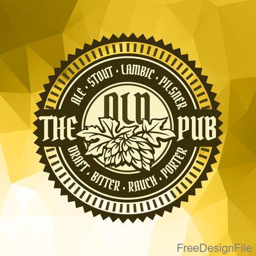 Beer badge with Geometric polygon background vector 01