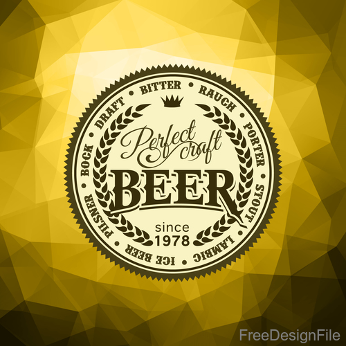 Beer badge with Geometric polygon background vector 02