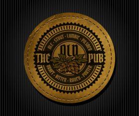 Beer badge with black background vectors 01