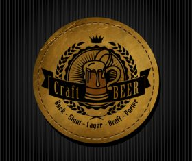 Beer badge with black background vectors 02