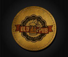 Beer badge with black background vectors 03