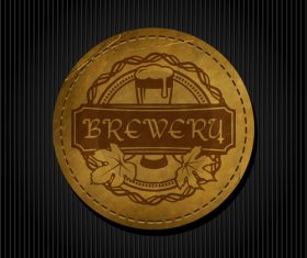 Beer badge with black background vectors 04