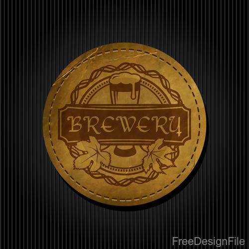 Beer badge with black background vectors 04