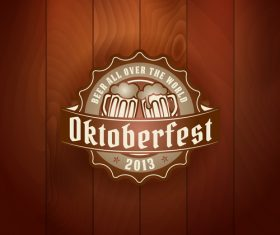 Beer badge with wooden wall background vector 01