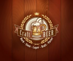 Beer badge with wooden wall background vector 02