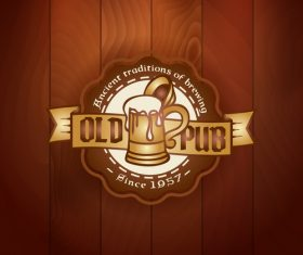 Beer badge with wooden wall background vector 03