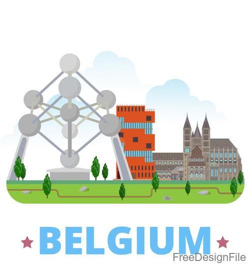 Belgium travel elements design vector