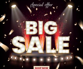 Big sale special offer design with stage background vector