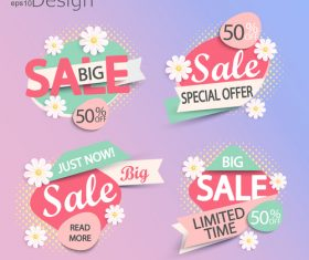 Big sale special offer labels vector