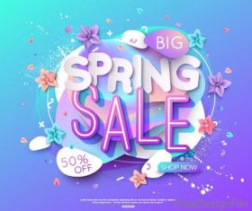 Big sale spring labels design vector