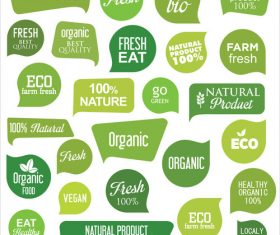 Bio eco and organic modern badges and labels vector