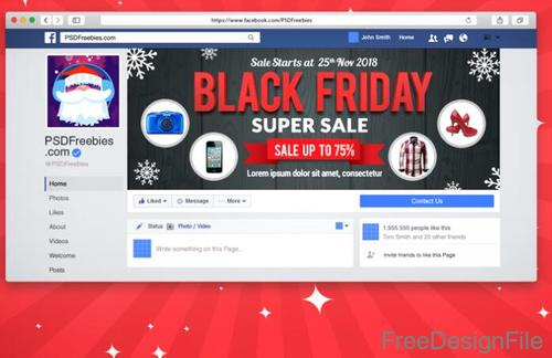 Black Friday Sale Facebook Cover Psd Template Free Download