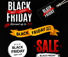 Black Friday sale logos with tags and ribbon banner vector