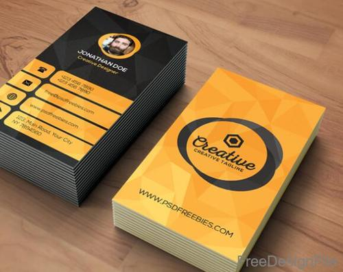 Black with Orange Agency Business Card Template