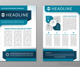 Blue styles company brochure template vectors 01
