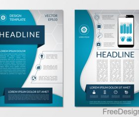 Blue styles company brochure template vectors 02