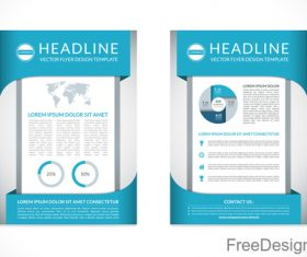 Blue styles company brochure template vectors 03