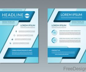 Blue styles company brochure template vectors 04