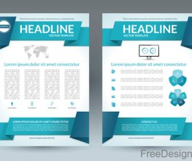 Blue styles company brochure template vectors 05