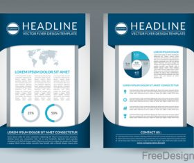 Blue styles company brochure template vectors 06