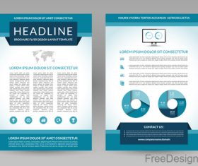 Blue styles company brochure template vectors 07
