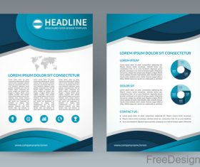 Blue styles company brochure template vectors 08