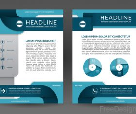 Blue styles company brochure template vectors 09