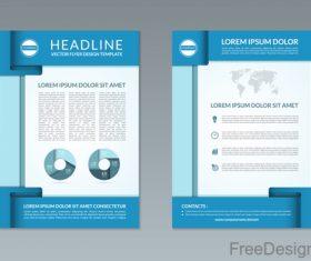 Blue styles company brochure template vectors 10